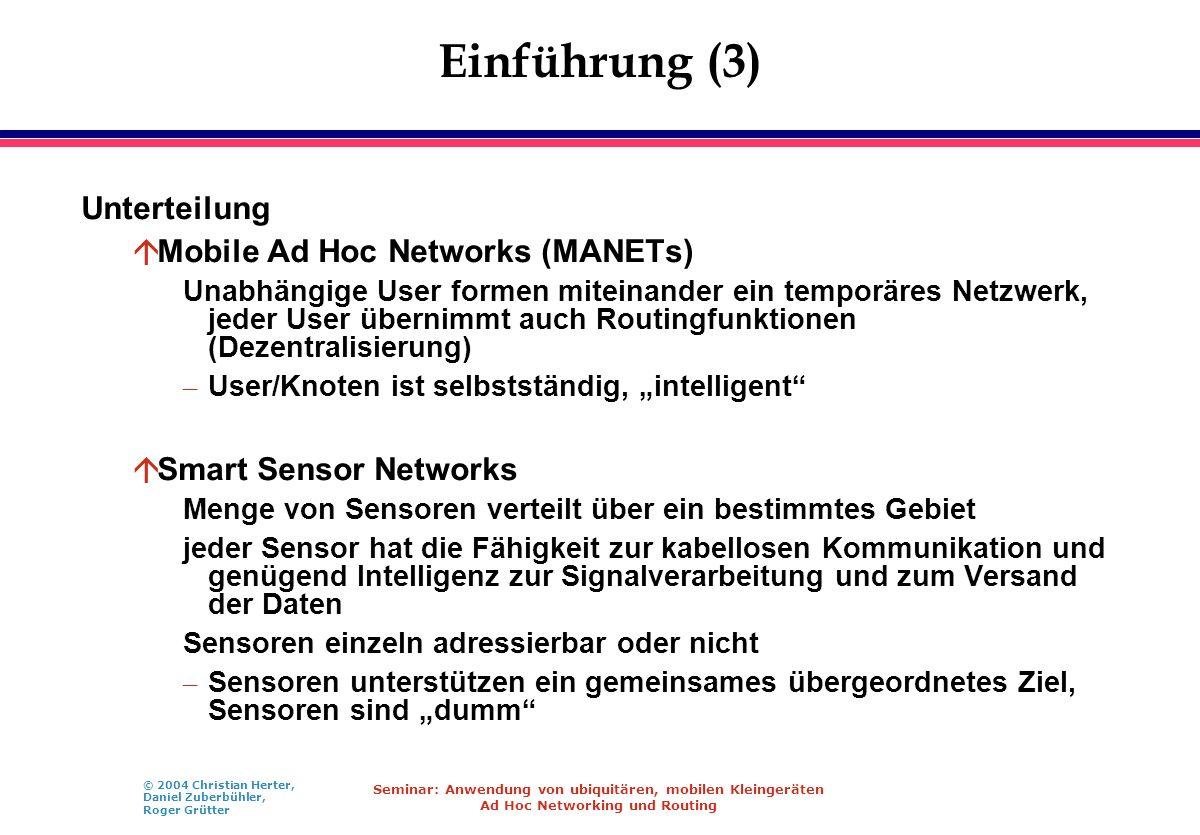 © 2004 Christian Herter, Daniel Zuberbühler, Roger Grütter Seminar: Anwendung von ubiquitären, mobilen Kleingeräten Ad Hoc Networking und Routing Einf