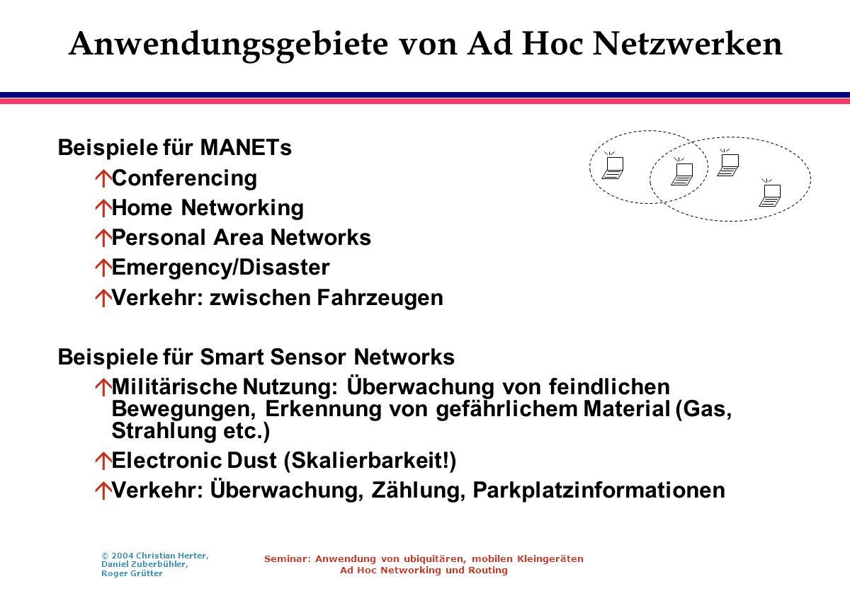 © 2004 Christian Herter, Daniel Zuberbühler, Roger Grütter Seminar: Anwendung von ubiquitären, mobilen Kleingeräten Ad Hoc Networking und Routing Anwe