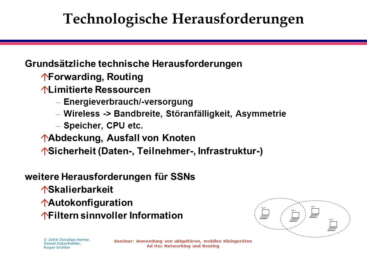 © 2004 Christian Herter, Daniel Zuberbühler, Roger Grütter Seminar: Anwendung von ubiquitären, mobilen Kleingeräten Ad Hoc Networking und Routing Tech