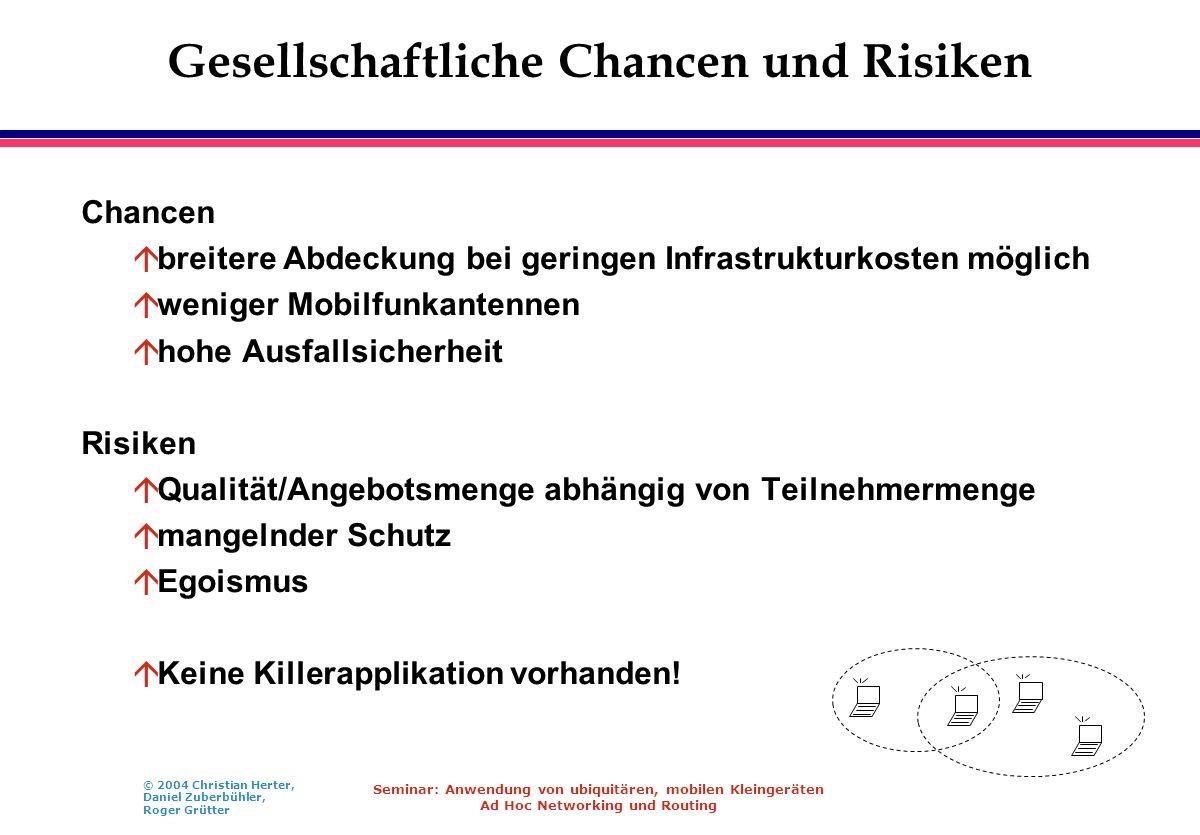 © 2004 Christian Herter, Daniel Zuberbühler, Roger Grütter Seminar: Anwendung von ubiquitären, mobilen Kleingeräten Ad Hoc Networking und Routing Gese