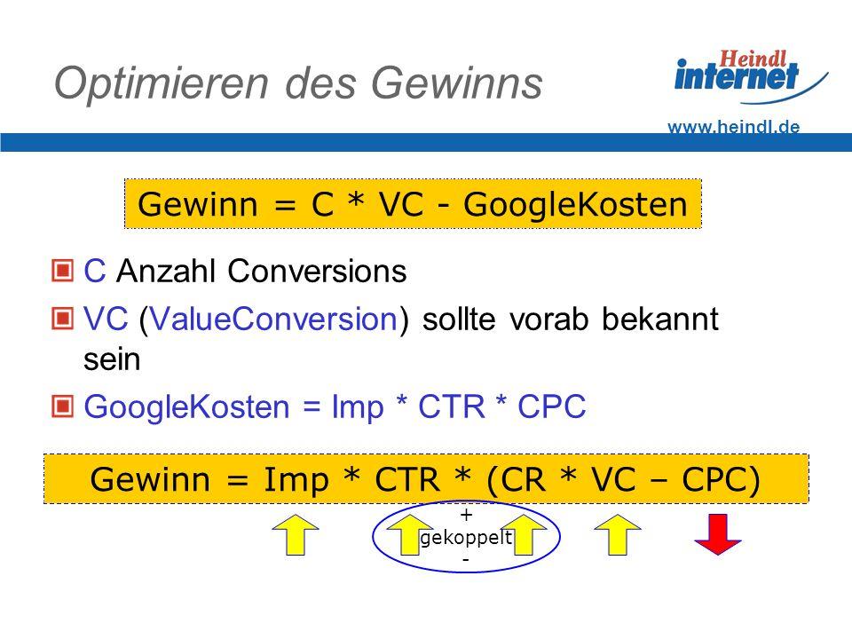 www.heindl.de Optimieren des Gewinns C Anzahl Conversions VC (ValueConversion) sollte vorab bekannt sein GoogleKosten = Imp * CTR * CPC Gewinn = C * VC - GoogleKosten Gewinn = Imp * CTR * (CR * VC – CPC) + gekoppelt -
