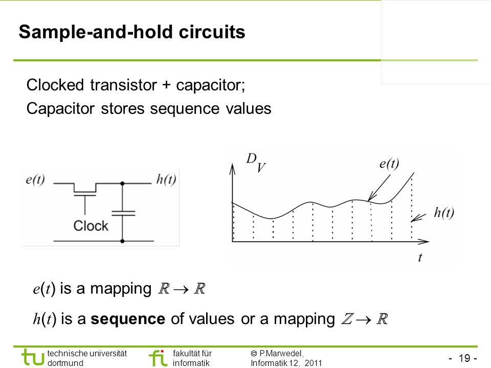 - 19 - technische universität dortmund fakultät für informatik P.Marwedel, Informatik 12, 2011 TU Dortmund Sample-and-hold circuits h ( t ) is a seque
