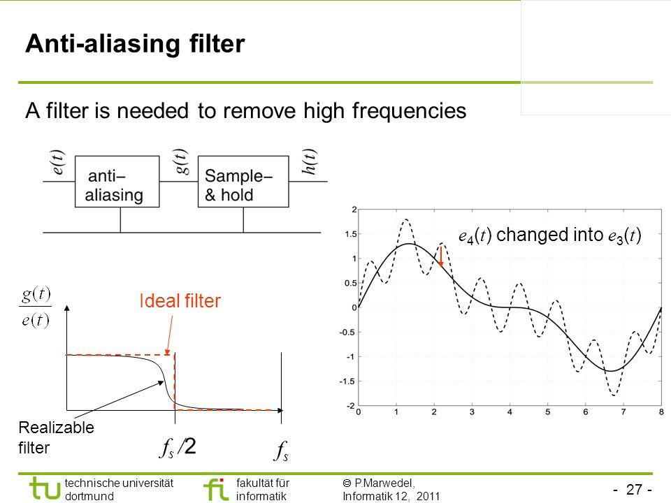 - 27 - technische universität dortmund fakultät für informatik P.Marwedel, Informatik 12, 2011 TU Dortmund Anti-aliasing filter A filter is needed to remove high frequencies fsfs Ideal filter f s / 2 e 4 ( t ) changed into e 3 ( t ) Realizable filter
