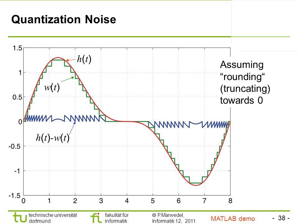 - 38 - technische universität dortmund fakultät für informatik P.Marwedel, Informatik 12, 2011 TU Dortmund Quantization Noise h(t)h(t) w(t)w(t) h ( t ) -w ( t ) Assuming rounding (truncating) towards 0 MATLAB demo