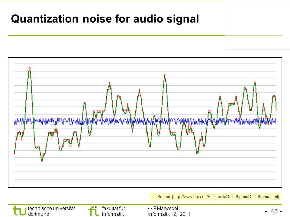 - 43 - technische universität dortmund fakultät für informatik P.Marwedel, Informatik 12, 2011 TU Dortmund Quantization noise for audio signal Source: [http://www.beis.de/Elektronik/DeltaSigma/DeltaSigma.html]