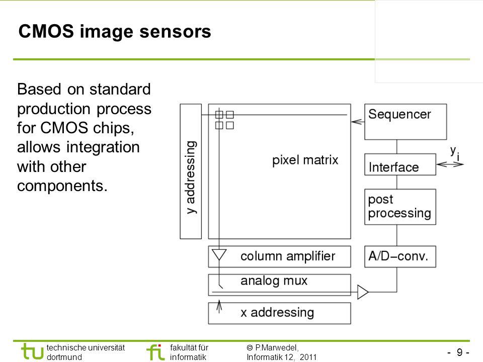 - 9 - technische universität dortmund fakultät für informatik P.Marwedel, Informatik 12, 2011 TU Dortmund CMOS image sensors Based on standard production process for CMOS chips, allows integration with other components.