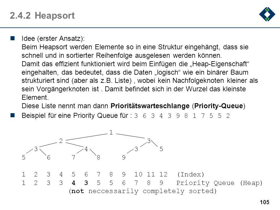 2.4.2Heapsort Idee (erster Ansatz): Beim Heapsort werden Elemente so in eine Struktur eingehängt, dass sie schnell und in sortierter Reihenfolge ausge