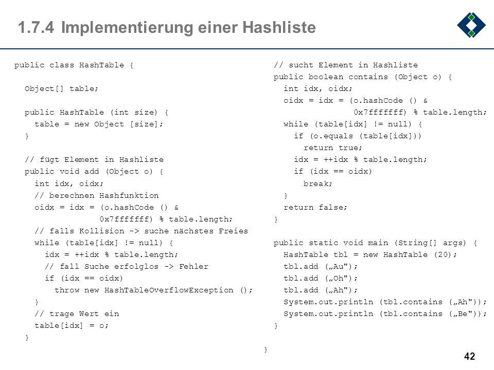 1.7.4Implementierung einer Hashliste 42 public class HashTable { Object[] table; public HashTable (int size) { table = new Object [size]; } // fügt El