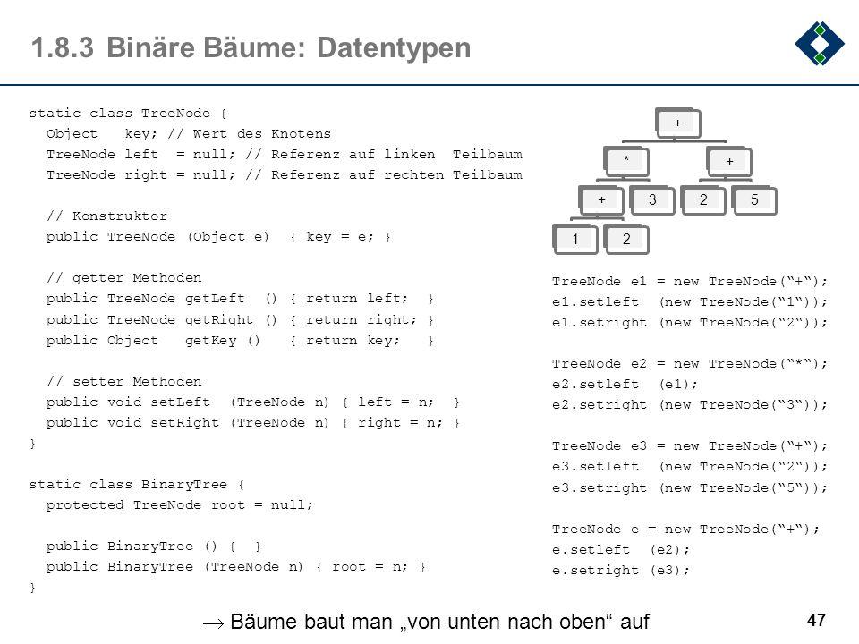 1.8.3Binäre Bäume: Datentypen 47 static class TreeNode { Object key; // Wert des Knotens TreeNode left = null; // Referenz auf linken Teilbaum TreeNod