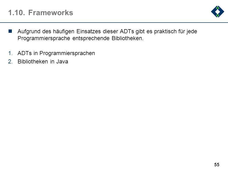 1.10.Frameworks Aufgrund des häufigen Einsatzes dieser ADTs gibt es praktisch für jede Programmiersprache entsprechende Bibliotheken. 1.ADTs in Progra