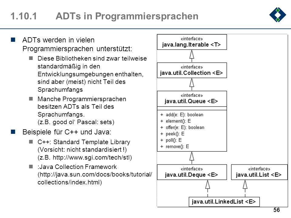 1.10.1ADTs in Programmiersprachen ADTs werden in vielen Programmiersprachen unterstützt: Diese Bibliotheken sind zwar teilweise standardmäßig in den E