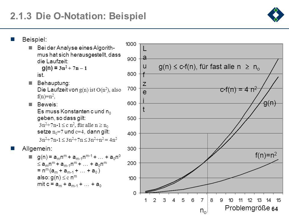 64 2.1.3Die O-Notation: Beispiel Beispiel: Bei der Analyse eines Algorith- mus hat sich herausgestellt, dass die Laufzeit: g(n) = 3n 2 + 7n – 1 ist. B