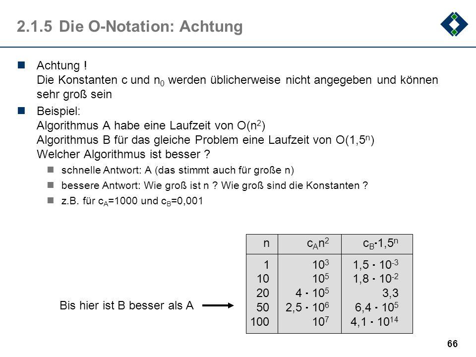 66 2.1.5Die O-Notation: Achtung Achtung ! Die Konstanten c und n 0 werden üblicherweise nicht angegeben und können sehr groß sein Beispiel: Algorithmu