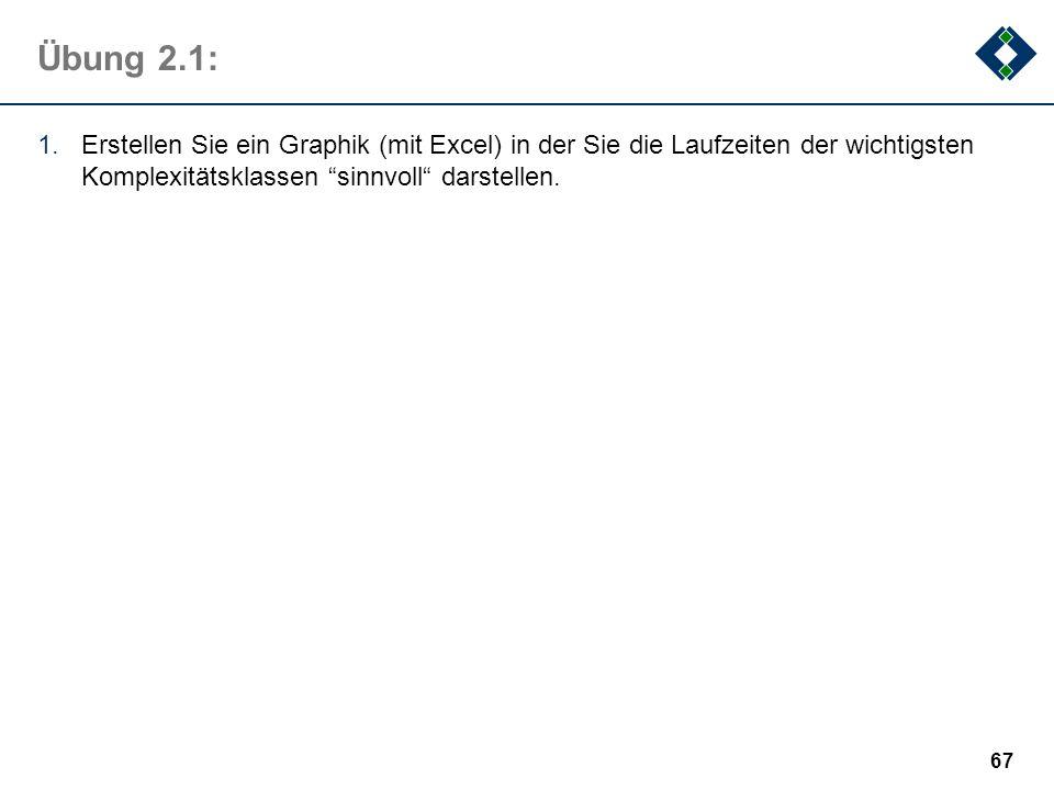 Übung 2.1: 1.Erstellen Sie ein Graphik (mit Excel) in der Sie die Laufzeiten der wichtigsten Komplexitätsklassen sinnvoll darstellen. 67