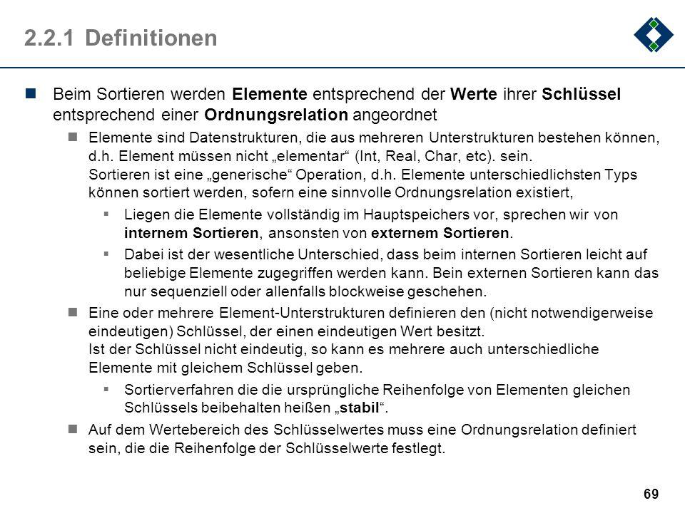2.2.1Definitionen Beim Sortieren werden Elemente entsprechend der Werte ihrer Schlüssel entsprechend einer Ordnungsrelation angeordnet Elemente sind D