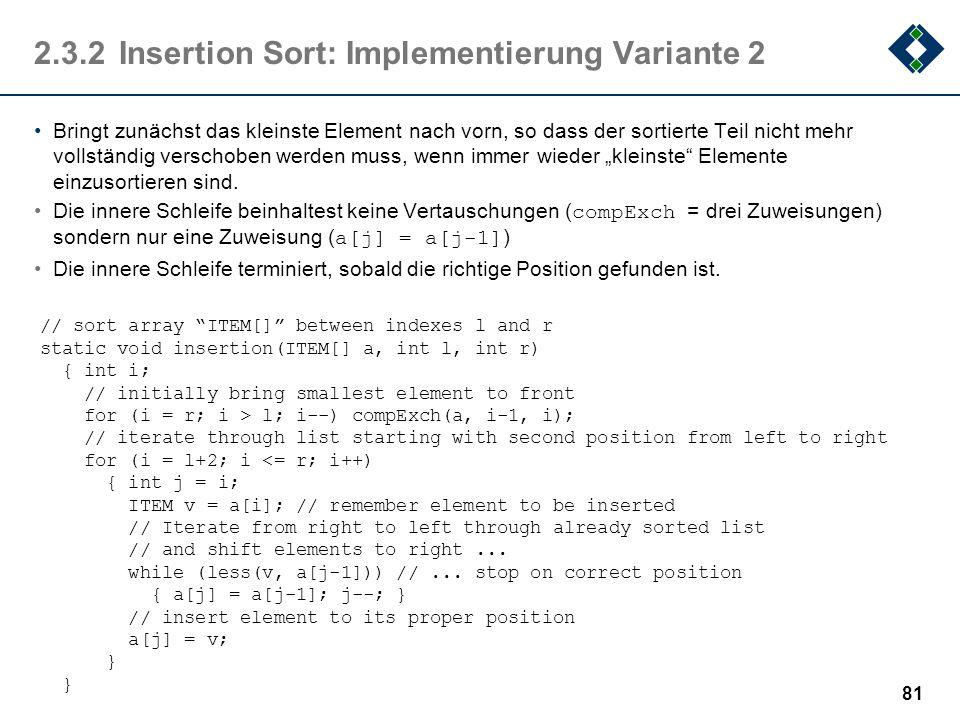 2.3.2Insertion Sort: Implementierung Variante 2 Bringt zunächst das kleinste Element nach vorn, so dass der sortierte Teil nicht mehr vollständig vers