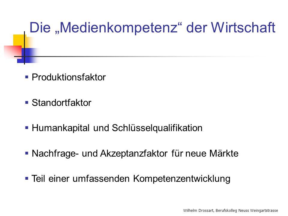 Wilhelm Drossart, Berufskolleg Neuss Weingartstrasse Die Medienkompetenz der Wirtschaft Produktionsfaktor Standortfaktor Humankapital und Schlüsselqua