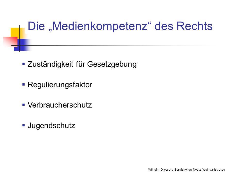 Wilhelm Drossart, Berufskolleg Neuss Weingartstrasse Die Medienkompetenz des Rechts Zuständigkeit für Gesetzgebung Regulierungsfaktor Verbraucherschut