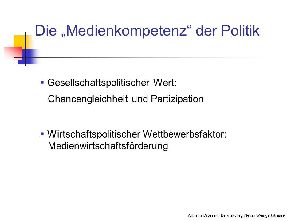 Wilhelm Drossart, Berufskolleg Neuss Weingartstrasse Die Medienkompetenz der Politik Gesellschaftspolitischer Wert: Chancengleichheit und Partizipatio