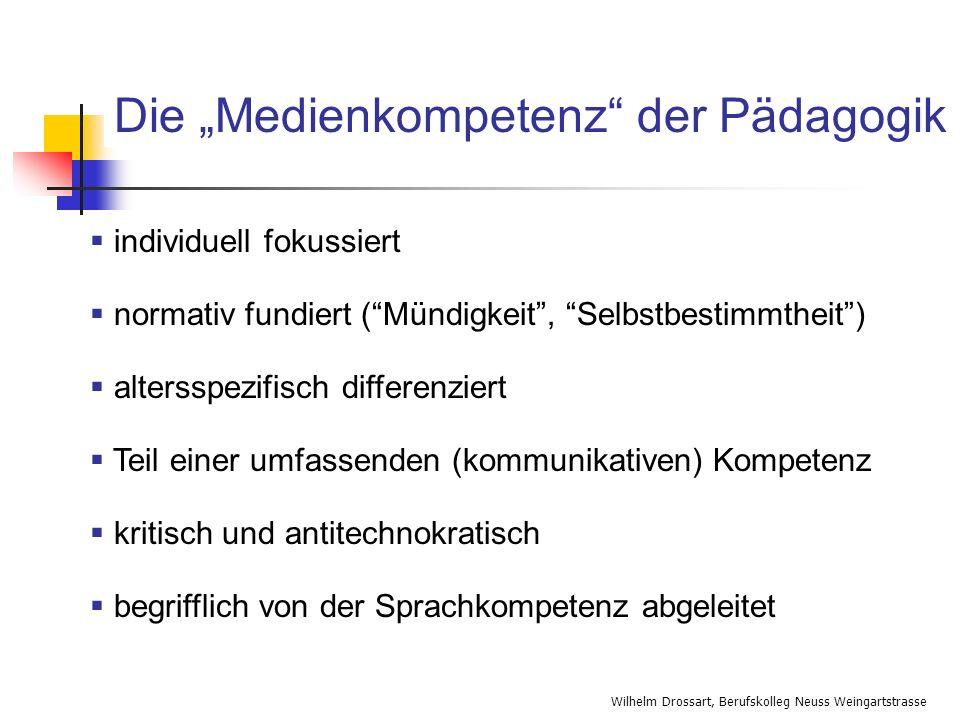 Wilhelm Drossart, Berufskolleg Neuss Weingartstrasse individuell fokussiert normativ fundiert (Mündigkeit, Selbstbestimmtheit) altersspezifisch differ