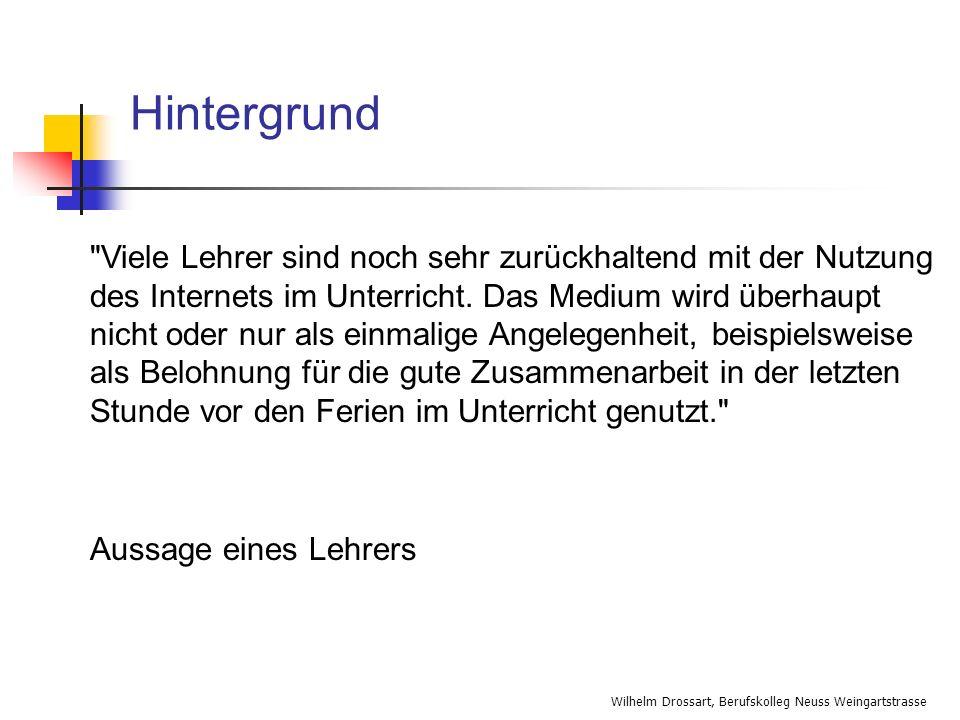 Wilhelm Drossart, Berufskolleg Neuss Weingartstrasse Links zum Thema Medienkompetenz http://www.itgl.de http://www.studienseminare- berufskolleg.nrw.de/d/kooperation/partner/lo_veroeffentlichung.php http://www.studienseminare- berufskolleg.nrw.de/d/kooperation/partner/lo_veroeffentlichung.php http://www.gi- ev.de/informatik/publikationen/gesamtkonzept_26_9_2000.pdf http://www.gi- ev.de/informatik/publikationen/gesamtkonzept_26_9_2000.pdf http://itgl.informatik.uni- bremen.de/publikationen/art_haefner_elektronische_Klassenzimmer_9_9 9.htm http://itgl.informatik.uni- bremen.de/publikationen/art_haefner_elektronische_Klassenzimmer_9_9 9.htm http://www.ecmc.de/ http://www.medienpaedagogik-online.de