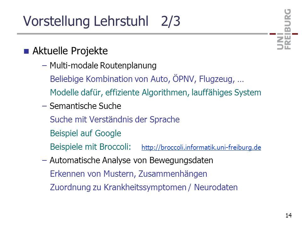 Vorstellung Lehrstuhl 2/3 Aktuelle Projekte –Multi-modale Routenplanung Beliebige Kombination von Auto, ÖPNV, Flugzeug, … Modelle dafür, effiziente Al