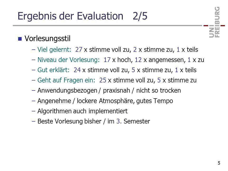 Ergebnis der Evaluation 2/5 Vorlesungsstil –Viel gelernt: 27 x stimme voll zu, 2 x stimme zu, 1 x teils –Niveau der Vorlesung: 17 x hoch, 12 x angemes