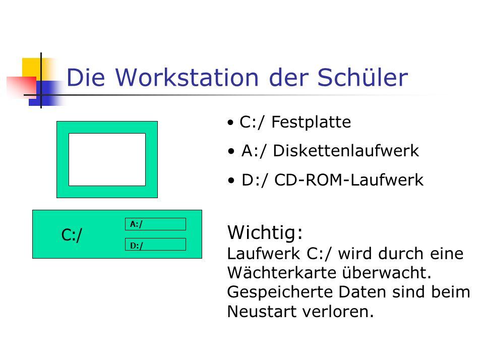 Die Workstation der Schüler C:/ A:/ D:/ C:/ Festplatte A:/ Diskettenlaufwerk D:/ CD-ROM-Laufwerk Wichtig: Laufwerk C:/ wird durch eine Wächterkarte überwacht.