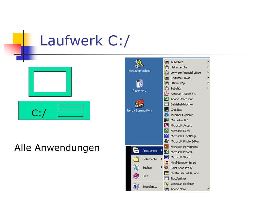 Die Workstation der Schüler C:/ A:/ D:/ C:/ Festplatte A:/ Diskettenlaufwerk D:/ CD-ROM-Laufwerk Wichtig: Laufwerk C:/ wird durch eine Wächterkarte üb