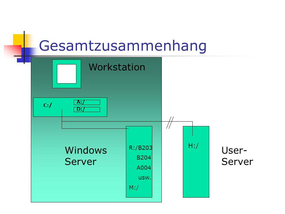 Workstation Windows Server C:/ R:/B203 B204 A004 usw.