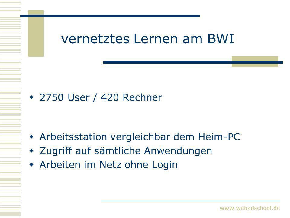 www.webadschool.de vernetztes Lernen am BWI 2750 User / 420 Rechner Arbeitsstation vergleichbar dem Heim-PC Zugriff auf sämtliche Anwendungen Arbeiten im Netz ohne Login