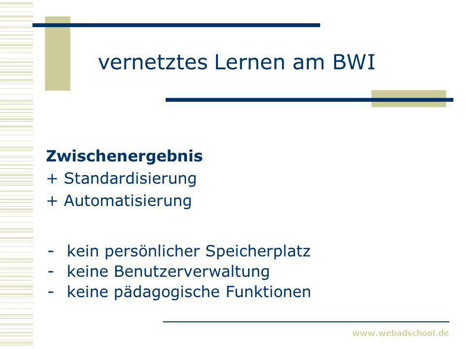 www.webadschool.de vernetztes Lernen am BWI Zwischenergebnis + Standardisierung + Automatisierung -kein persönlicher Speicherplatz -keine Benutzerverwaltung -keine pädagogische Funktionen
