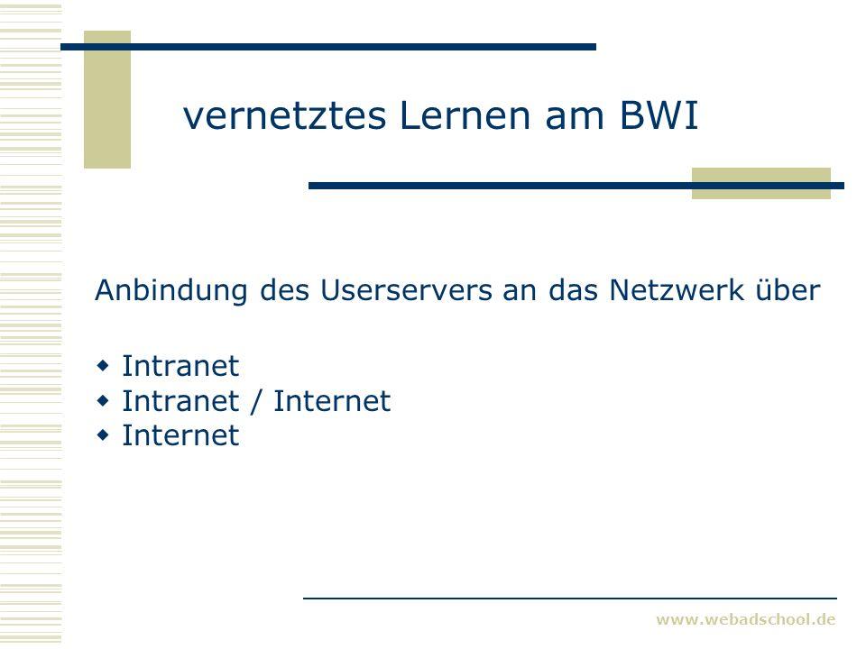 www.webadschool.de vernetztes Lernen am BWI Anbindung des Userservers an das Netzwerk über Intranet Intranet / Internet Internet