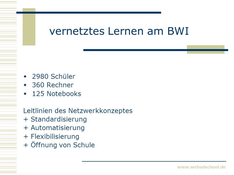 www.webadschool.de vernetztes Lernen am BWI 2980 Schüler 360 Rechner 125 Notebooks Leitlinien des Netzwerkkonzeptes + Standardisierung + Automatisierung + Flexibilisierung + Öffnung von Schule