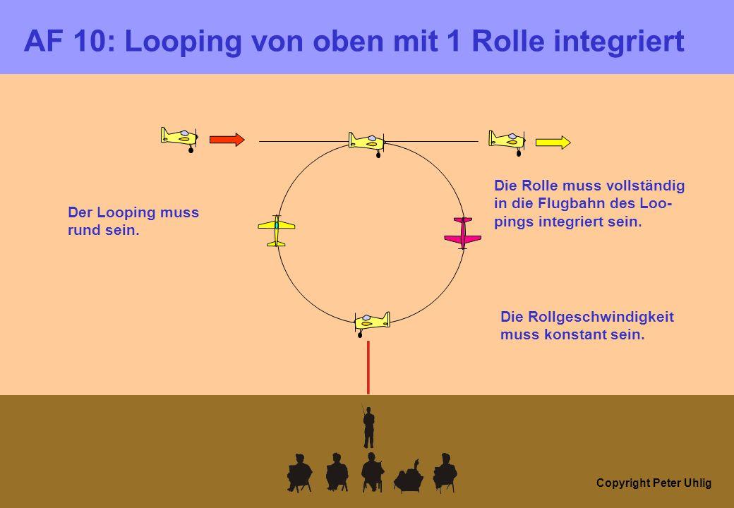 Copyright Peter Uhlig AF 10: Looping von oben mit 1 Rolle integriert Der Looping muss rund sein. Die Rolle muss vollständig in die Flugbahn des Loo- p