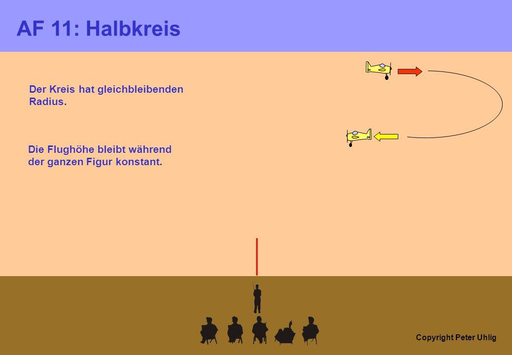 Copyright Peter Uhlig AF 11: Halbkreis Die Flughöhe bleibt während der ganzen Figur konstant. Der Kreis hat gleichbleibenden Radius.
