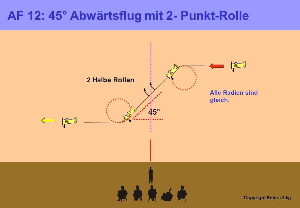 Copyright Peter Uhlig AF 12: 45° Abwärtsflug mit 2- Punkt-Rolle 2 Halbe Rollen 45° Alle Radien sind gleich.