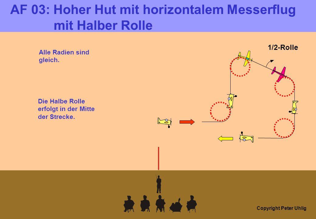 Copyright Peter Uhlig AF 03: Hoher Hut mit horizontalem Messerflug mit Halber Rolle 1/2-Rolle Alle Radien sind gleich. Die Halbe Rolle erfolgt in der
