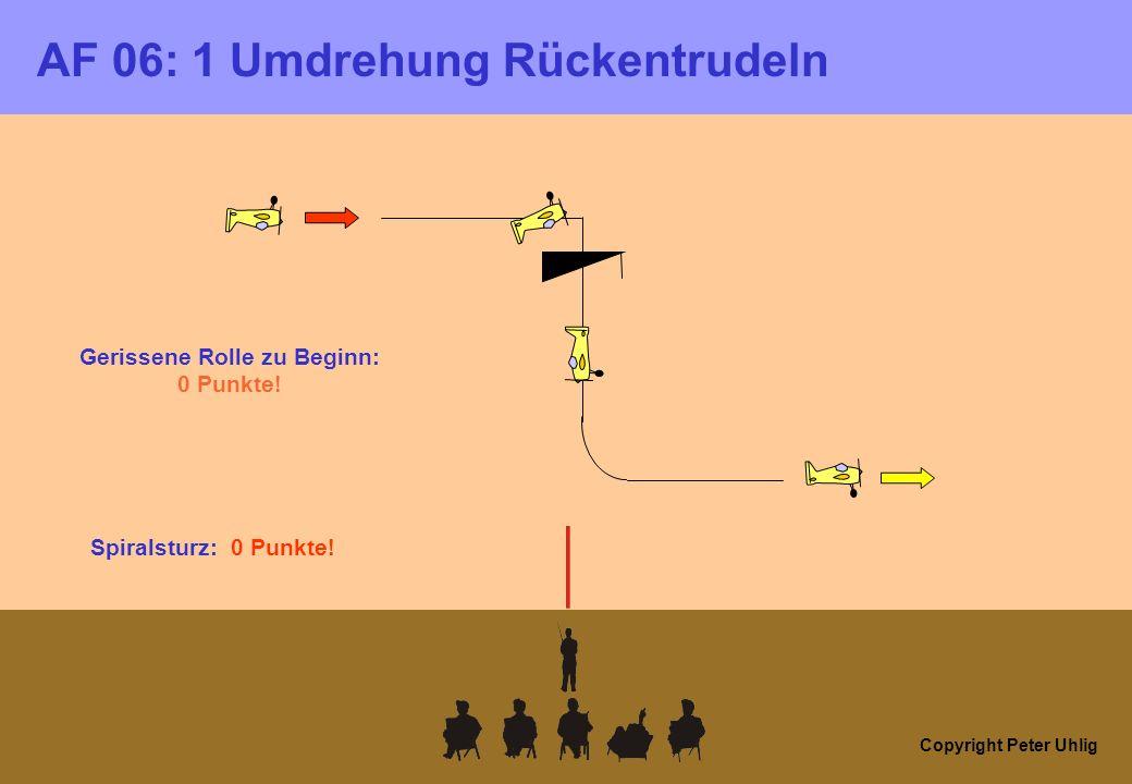 Copyright Peter Uhlig AF 06: 1 Umdrehung Rückentrudeln Gerissene Rolle zu Beginn: 0 Punkte! Spiralsturz: 0 Punkte!