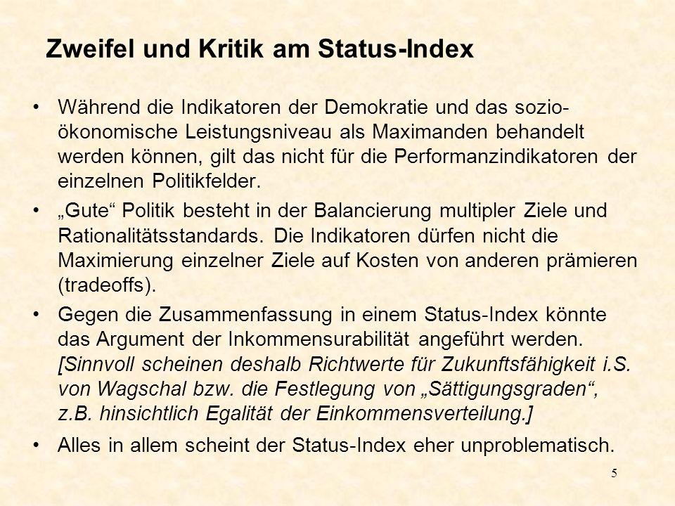 5 Zweifel und Kritik am Status-Index Während die Indikatoren der Demokratie und das sozio- ökonomische Leistungsniveau als Maximanden behandelt werden können, gilt das nicht für die Performanzindikatoren der einzelnen Politikfelder.