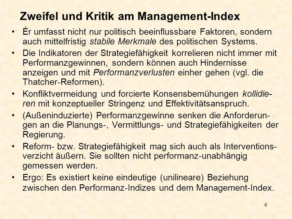 6 Zweifel und Kritik am Management-Index Ér umfasst nicht nur politisch beeinflussbare Faktoren, sondern auch mittelfristig stabile Merkmale des politischen Systems.