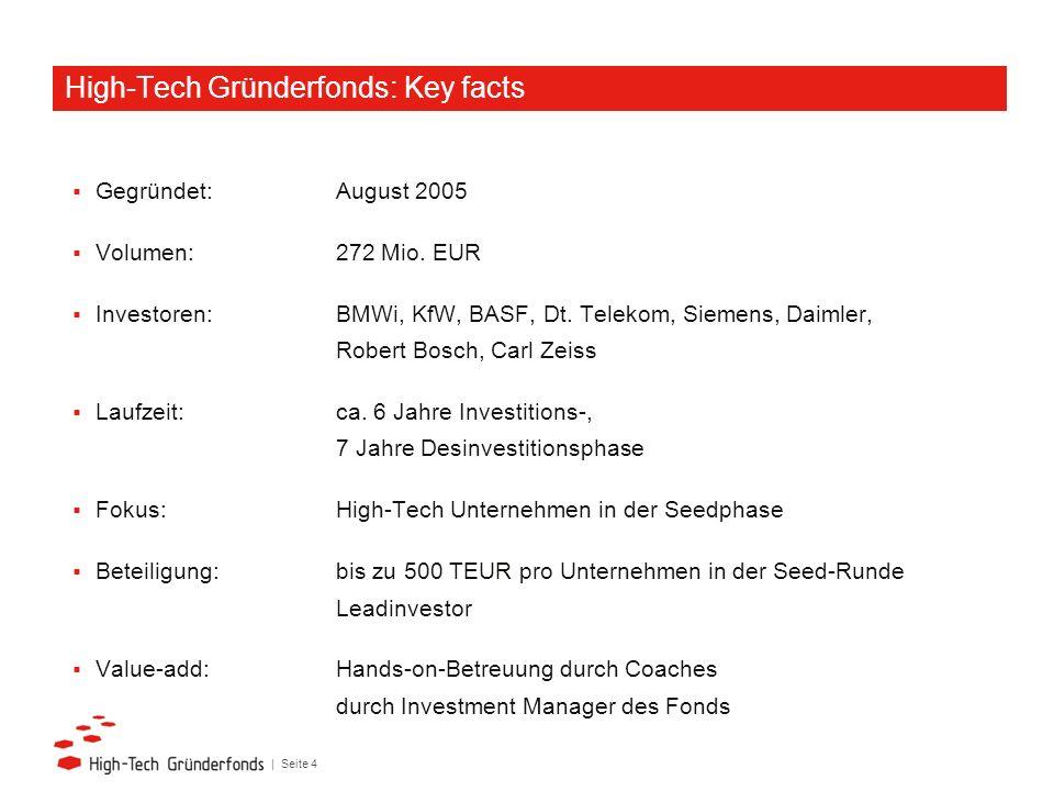 | Seite 4 Gegründet: August 2005 Volumen:272 Mio. EUR Investoren: BMWi, KfW, BASF, Dt. Telekom, Siemens, Daimler, Robert Bosch, Carl Zeiss Laufzeit: c