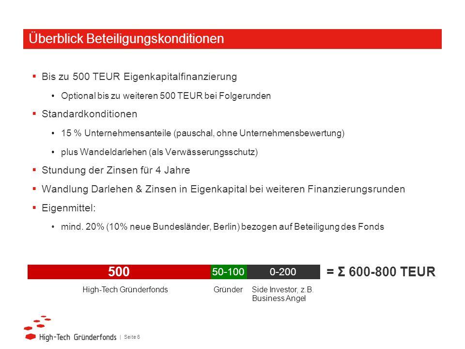 | Seite 6 Bis zu 500 TEUR Eigenkapitalfinanzierung Optional bis zu weiteren 500 TEUR bei Folgerunden Standardkonditionen 15 % Unternehmensanteile (pau