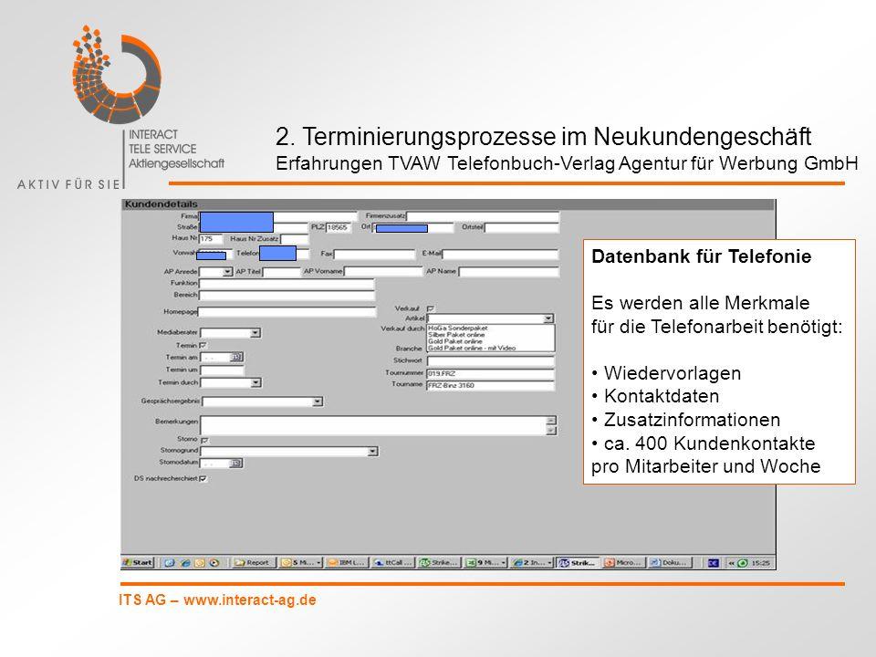 ITS AG – www.interact-ag.de 2. Terminierungsprozesse im Neukundengeschäft Erfahrungen TVAW Telefonbuch-Verlag Agentur für Werbung GmbH Datenbank für T