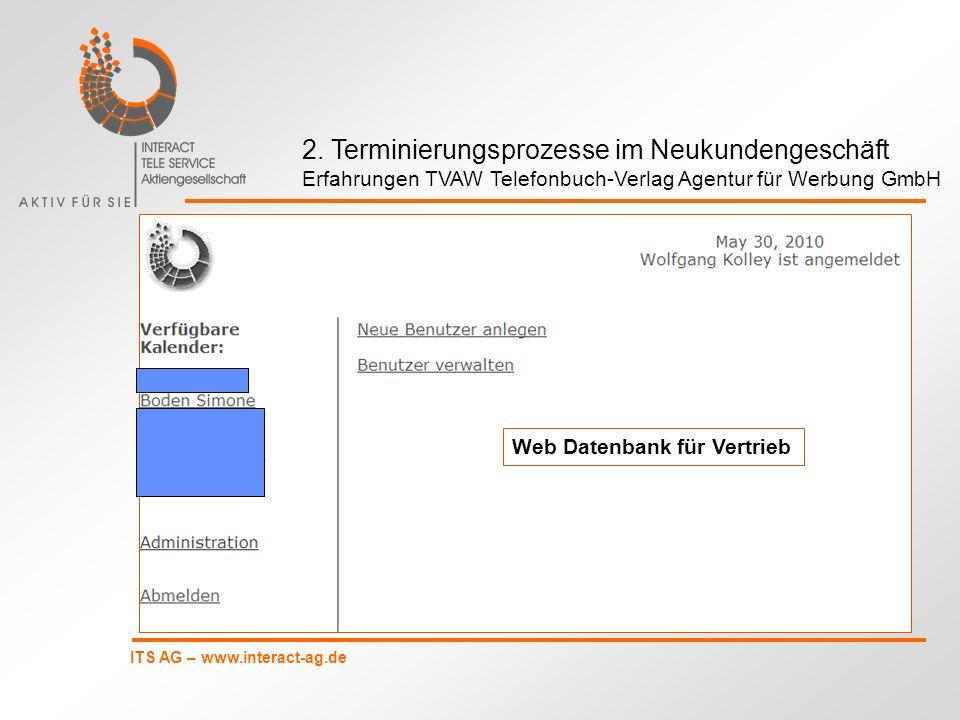 ITS AG – www.interact-ag.de Web Datenbank für Vertrieb 2. Terminierungsprozesse im Neukundengeschäft Erfahrungen TVAW Telefonbuch-Verlag Agentur für W