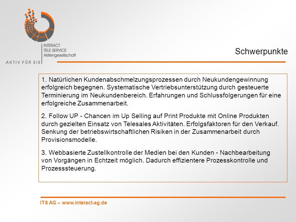 ITS AG – www.interact-ag.de 1.INTERACT TELE SERVICE AG - ein mittelständisches Unternehmen 2.Terminierungsprozesse im Neukundengeschäft 3.Up Selling Online Produkte auf Print Produkte 4.Zustellkontrolle, Reichweite und Qualitätssicherung Gliederung