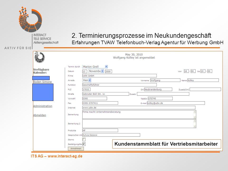ITS AG – www.interact-ag.de Kundenstammblatt für Vertriebsmitarbeiter 2. Terminierungsprozesse im Neukundengeschäft Erfahrungen TVAW Telefonbuch-Verla