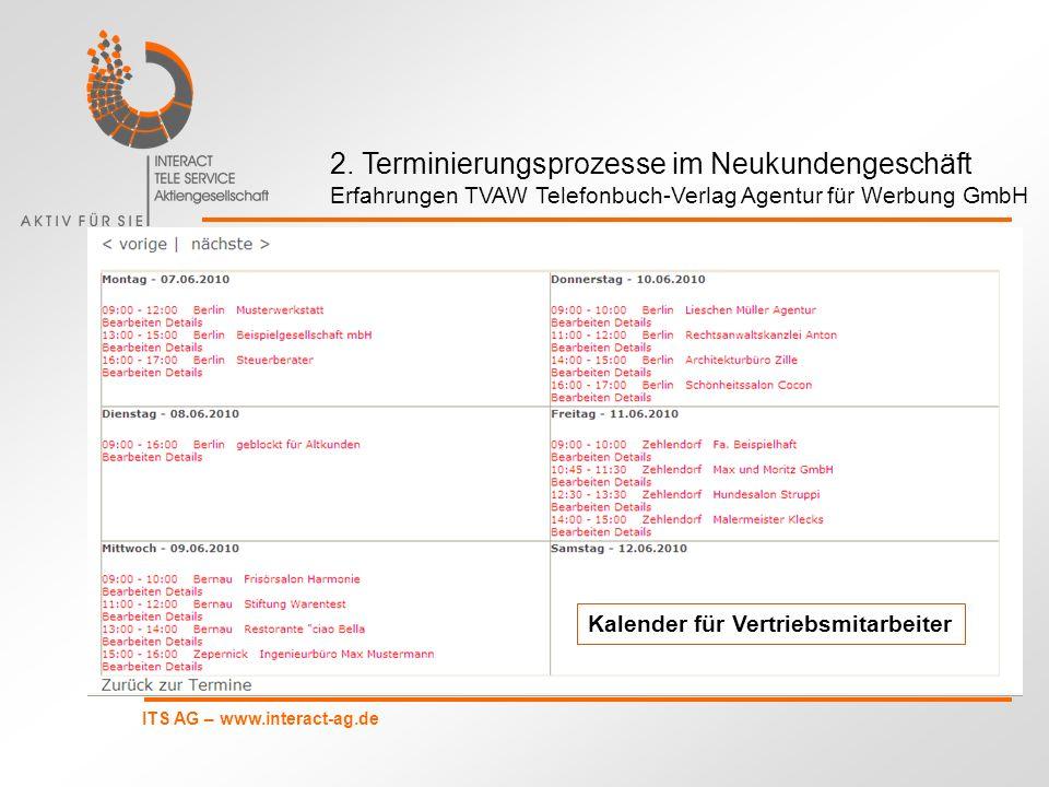 ITS AG – www.interact-ag.de Kalender für Vertriebsmitarbeiter 2. Terminierungsprozesse im Neukundengeschäft Erfahrungen TVAW Telefonbuch-Verlag Agentu