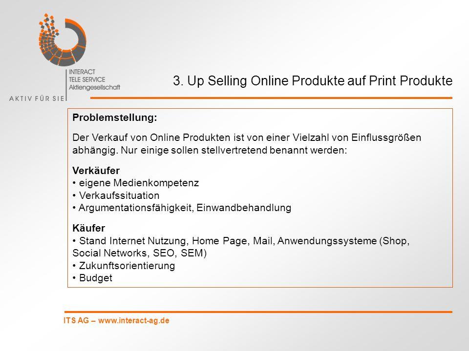 ITS AG – www.interact-ag.de 3. Up Selling Online Produkte auf Print Produkte Problemstellung: Der Verkauf von Online Produkten ist von einer Vielzahl