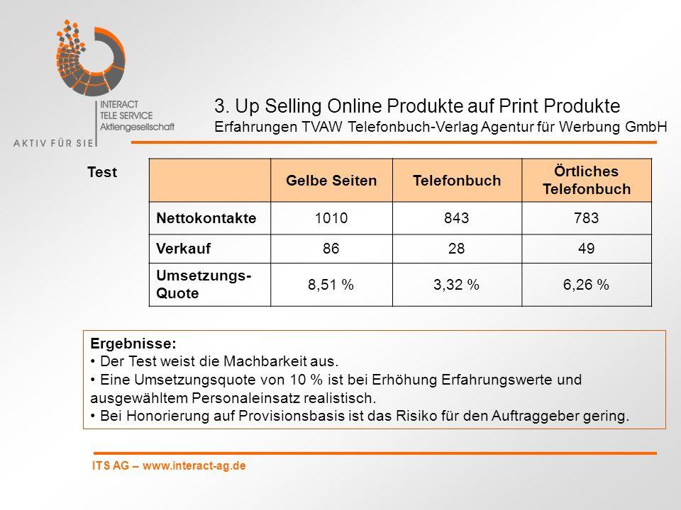 ITS AG – www.interact-ag.de 3. Up Selling Online Produkte auf Print Produkte Erfahrungen TVAW Telefonbuch-Verlag Agentur für Werbung GmbH Gelbe Seiten